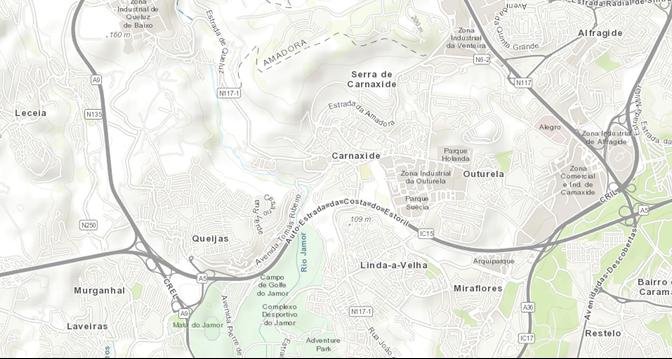 mapa da serra de carnaxide