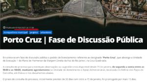 Recorte Porto Cruz Discussão Pública